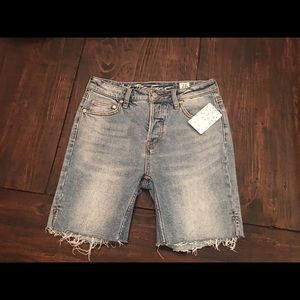 Free People Long Cutoff Denim Button Fly Shorts